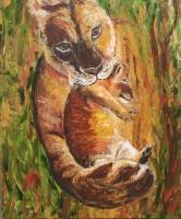 Löwin mit Jungem Acryl gespachtelt, 100x120cm, 1200 Euro