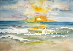 Sunset Aquarell 47x35c