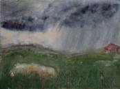 Regen in der Toskana Aquarell-47x35cm