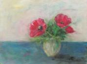 rote-Blumen-Acryl-auf-Pappe-40x30cm , 75Euro