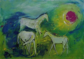 drei weiße Pferde Acryl 80x 100cm, 600 Euro