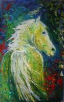 gelbes-Pferd Acryl 105x65cm