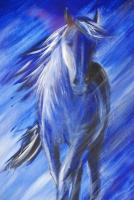 Pferd im Sturm Acryl-24x32cm