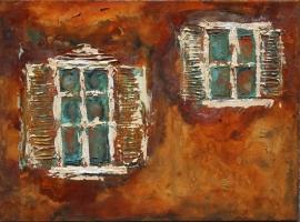 Fenster - Rost, Bronze und Acryl 30x40cm