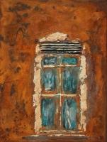 Tür - Rost, Bronze und Acryl 30x40cm